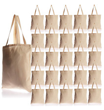 25 Pack - Blank Natural Color Canvas Tote Bags - Wholesale Plain Tote Bags Bulk