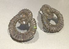18k White Gold GF Hoop Earrings made w Swarovski Crystal Baguette Stone Trendy