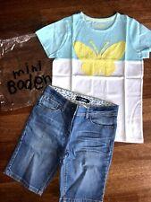 NEW Mini Boden girl 11 12 butterfly applique long denim shorts