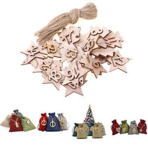 Christmas Advent Calendar Bags Embellishments Star 1-24 Wooden Listing LabeSG