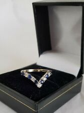 "18ct Gold ""Wishbone""  Ring.Set with Blue Sapphires & Brilliant Cut Diamonds"