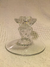 vintage FOSTORIA AMERICAN CANDLEHOLDER Candlestick Stick Glass Clear Cube Cubist