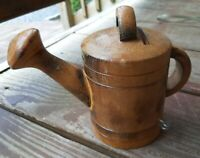 Vintage Carved Wood Spain Flower Watering Can Box Piggy Bank Figurine