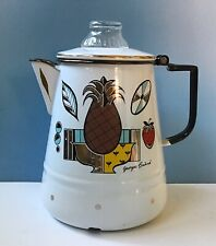 "Vintage Georges Briard Large Enamelware 10"" MCM  Coffee Pot Percolator Ambrosia"