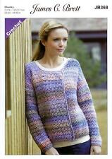 9b90f431415c0d James C Brett Crochet Pattern Ladies Cardigan Marble Chunky Yarn Jb368