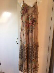 Rene Derhy Brown/Beige Maxi Dress Size L~ Stunning!