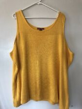 Women's Jessica London 26/28 Yellow Knit Sleeveless Sweater Tunic Tank Top