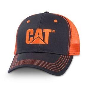 Caterpillar CAT Equipment Charcoal/Neon Orange Safety Snapback Mesh Cap/Hat