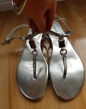 giovanna silver leather flat sandle size 8.5