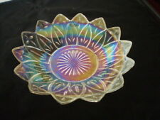 """FEDERAL GLASS IRIDESCENT CLEAR PETAL PATTERN ROUND SERVING BOWL / DISH - 8.5  """""""