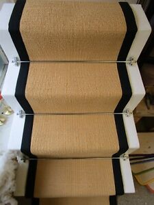 60cm Natural Mini Boucle Stripe Sisal Stair Runner Black Herringbone Tape Border