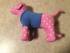 Victorias Secret Pink Polka Dot Dog With Peace Sign & Heart Shirt Blue