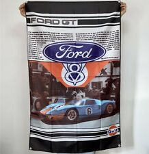 Ford GT40 Banner Le Mans Tapestry Gulf Logo Racing Flag Fabric Poster Sign 3x5ft