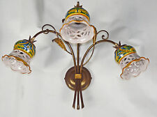 APPLIQUE LAMPADA LED FERRO BATTUTO E CERAMICA DECORATA MADE IN ITALY ART.146
