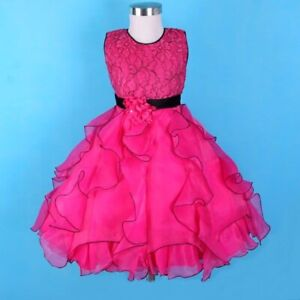 Girl Child Kid Party Formal Pageant Flower Birthday Wedding Dress PINK SIZE 7