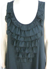 Velvet Size M 12 Black Tank Ruffle Designer Dress $69