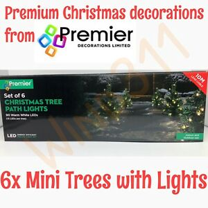 Premier LED Mini Christmas Tree Path Lights Set of 6 - Outdoor Decorations White