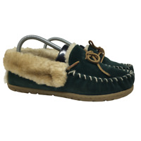 LL Bean Womens Slippers Wicked Good Moccasin Green Shearling Lined Size 7 *READ