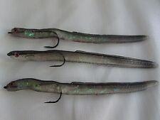 3 x 6 Inch Sidewinder Sandeel with 1/0 bait holder aberdeen hooks. Lure Cod Bass