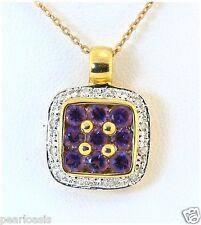 Genuine Amethyst and Diamond Pendant, 18K Yellow Gold, 3.5 Grams, NEW