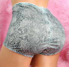 VIP sexy GRAY SATIN snake skin HIGH CUT slimming brief panties sz XL