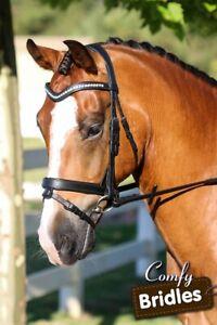 New Leather Horse Bridle Crystal Wave Browband, Flat Converter Crank, Havana WB