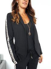 ★VIARELLA Jersey Blazer Sweat Jacke Kurzjacket STRETCH Leo-Muster schwarz ★ S/M