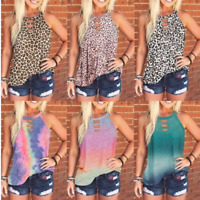 Women Summer O Neck T Shirt Leopard Blouse Casual Beach Tops Sleeveless Tank