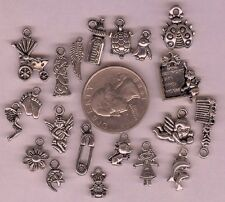 20 Different Silver Baby Theme Charms Angel Wing Feet Birth Record Bear Mix lot