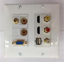 SVGA/VGA + 2x HDMI + 2x 3.5mm STEREO + 3x RCA  + USB + CATV F COAX TV WALL PLATE