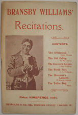 c1910 BRANSBY WILLIAMS RECITATIONS COMIC HUMOROUS MUSIC HALL THEATRE POEMS VERSE