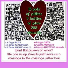 GLITTER TATTOO KIT 288 stencils 15 glitter 5 glue OR REFILL ITEMS DROP DOWN MENU