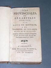 Jansénisme Blaise Pascal les provinciales ou les lettres... Nicolas Schoute 1682