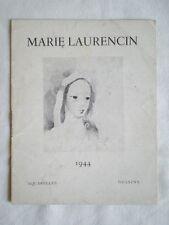 PETIT LIVRET ANCIEN INVITATION EXPO AQUARELLES ET DESSINS MARIE LAURENCIN 1944
