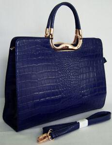 (V68) BLUE CROC WOMEN BUSINESS BAG BRIEFCASE HANDBAG