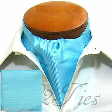 MEN'S Mini Stripes TURQUOISE Slipknot Style Ascot Cravat & Hanky 2pcs Set
