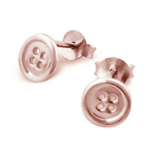 As Cute As a Button 6mm Lucky Button 925 Silver Rose Gold Plated Earrings Studs