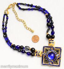 Chico's Signed Necklace Gold Tone Cobalt Blue Enamel Beads Cabochon Pendant NWOT