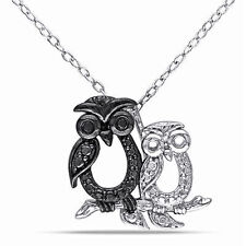 """Sterling Silver Black Diamond Owl Bird Pendant Necklace With 18"""" Chain 925"""