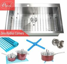 "Ariel 36"" Stainless steel Single Bowl Zero Radius Topmount  Kitchen Sink Combo"