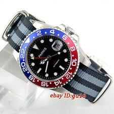 Parnis 40mm case mingzhu DG2813 GMT Ceramic Bezel sapphire automatic mens watch