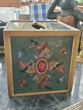 Gorgeous Green Tissue Box Square cover Peru, Reverse Painted glass tissue box