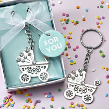 16-144 OH Baby Silver Baby Carriage Key Chains - Baby Shower Birthday Favors