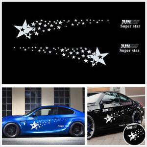 2 Pcs Car SUV Racing White Long Stripe Graphics Side Body Vinyl Decal Super Star