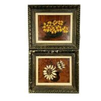 Vintage Floral Paintings Set of 2 Still Life Mid Century Flowers Abstract 20″