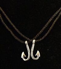 His Hers Fish Hook Couples Necklace 2 PC Set NEW! Country Muddy Browning Girl