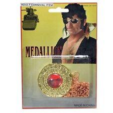 Années 70 disco elvis gold disc pierre rouge médaillon robe fantaisie collier P5720