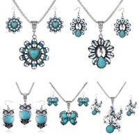 Vintage Women Ethnic Heart Turquoise Necklace Pendant Earrings Jewlery Set Gift