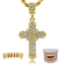 "Mens 14k Gold Plated 2 pcs set of X Cross Pendant 24"" Rope chains Bottom Grillz"