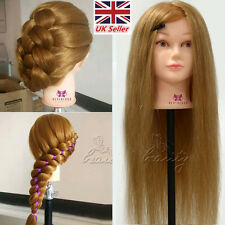 """Salon Doll Head 100% Real Hair 26"""" Model Hairdressing Training Mannequin Clamp"""